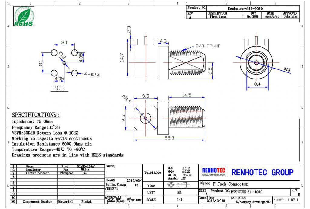 F type PCB Connector rht-611-0010
