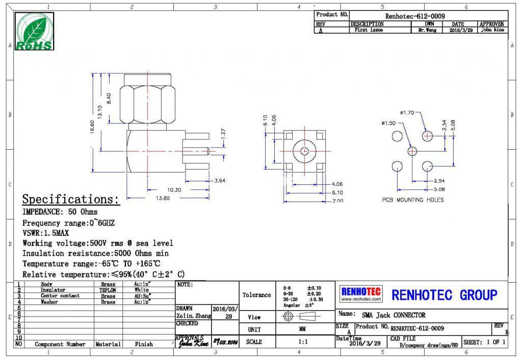 SMA PCB Connector RHT-612-0009