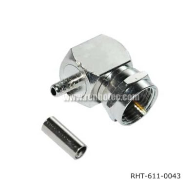 F type Male Connector Right Angle Crimp for RG179