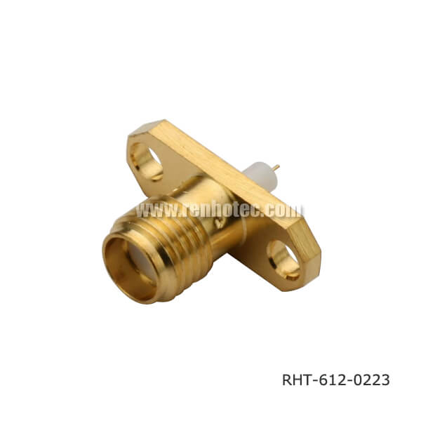 2 Hole SMA Connector Gold Plated Jack with Extended PTFE