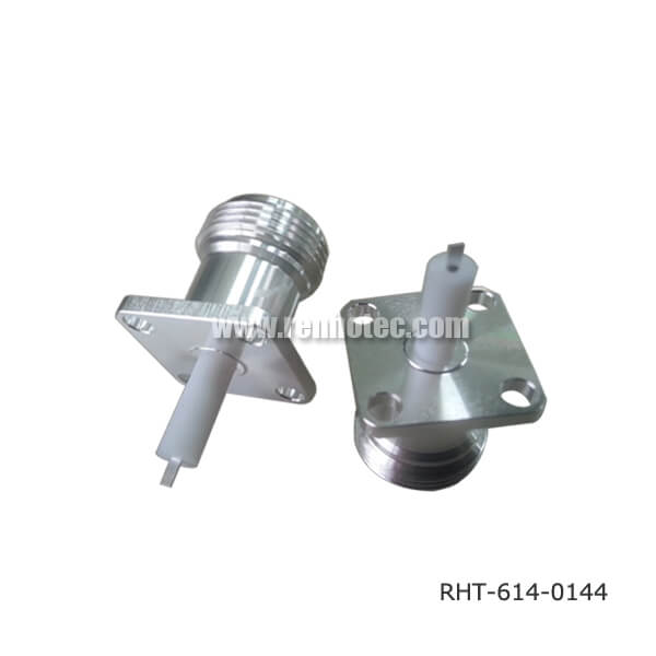 N-Type Female 4 Hole Flange Straight Panel Receptacle with SQ17.5