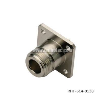 N Type Panel 4Holes Flange Straight Plug Receptacle