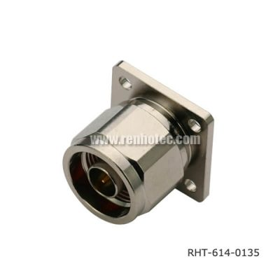 N Type Receptacle Straight Panel 4Hole Flange Male Receptacle