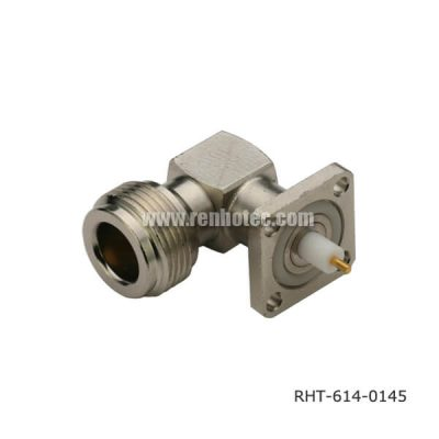 Right Angled N Type 4 Hole Flange Panel Jack Receptacle