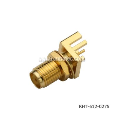 SMA Connector Board Edge Gold Plating Straight Bulkhead Type