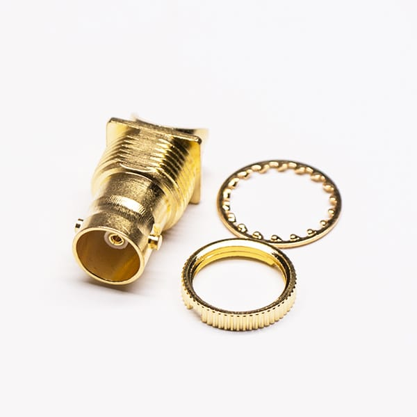 Gold Plated BNC Connector Edge Mount 180 Degree Female Plate