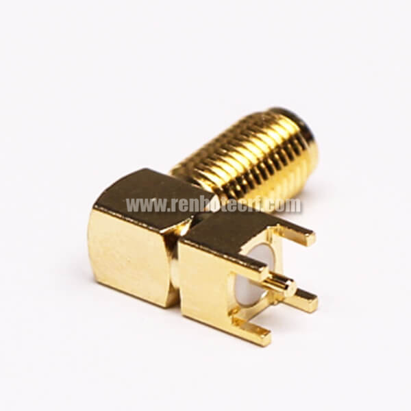 SMA Female Right Angle Connector Through Hole for PCB Mount
