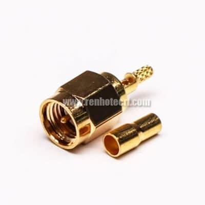 SMA Crimp Connector 180 Degree Plug Coaxial RF Connector