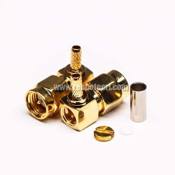 SMA Crimp Plug Right Angled Gold Plating for Coaxial Cable