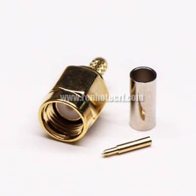 SMA Straight Cable Plug Crimp Type for Cable Gold Plating