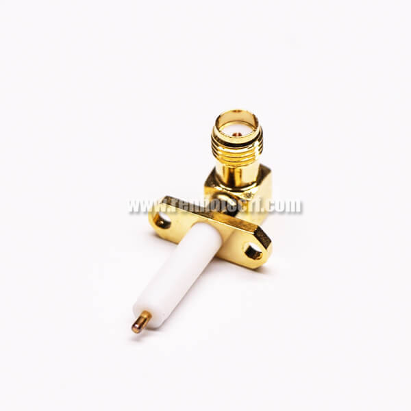 SMA 2 Hole Flange Mount Jack Solder Attachment for Coaxial Cable