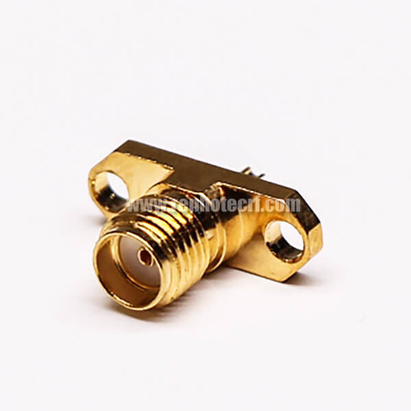 SMA 2 Hole Flange Connector 180 Degree Solder Type Female
