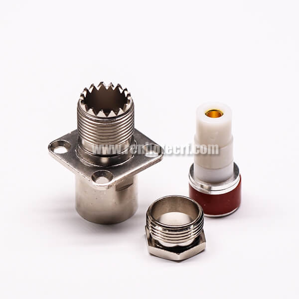 UHF Female 180° Connector Solder Type 2 Hole for Flange Mount