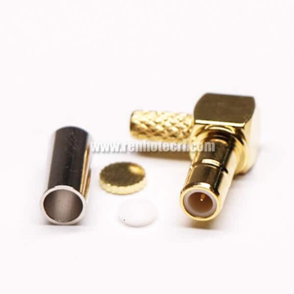 90 Degree SMB Connector Female Crimp Type for Cable Gold Plating