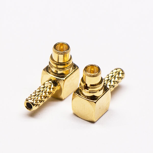 MMCX Connector Right Angle Plug Gold Plated Crimp Type