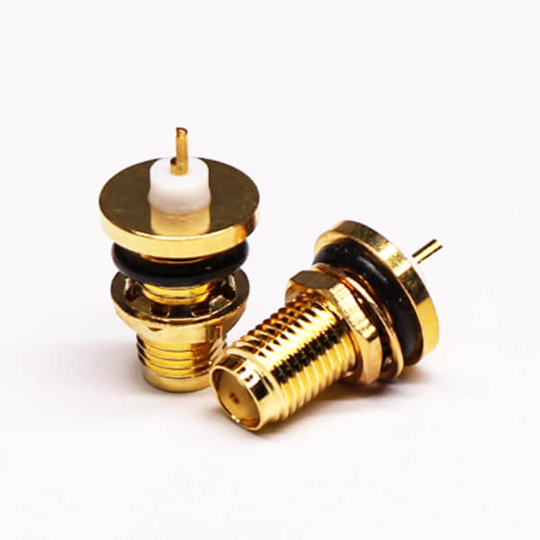 SMA Waterproof Female 180 Degree Bulkhead Mount Solder Type for Cable