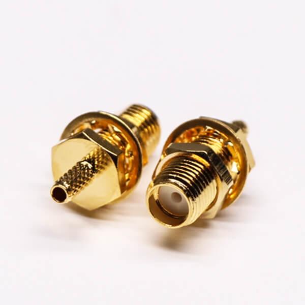 SMA Female Crimp Connector 180 Degree Bulkhead Gold Plating