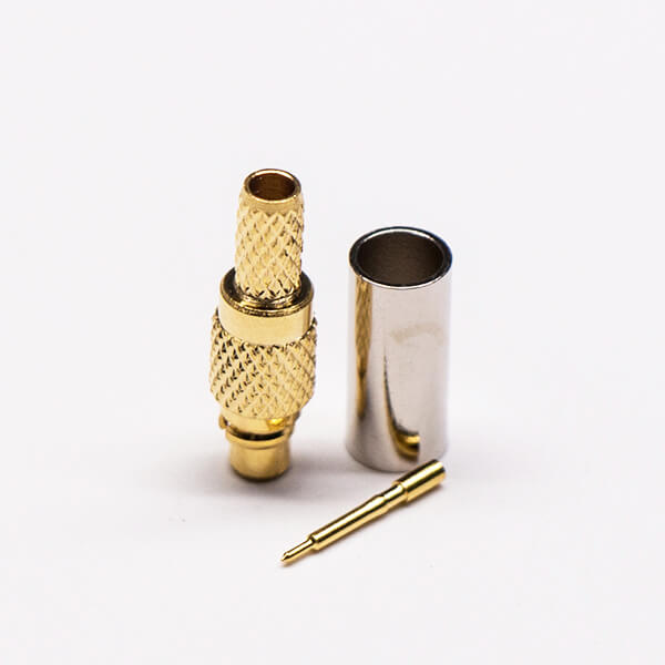 MMCX Coaxial Connector Male Straight Gold Plated Crimp Type