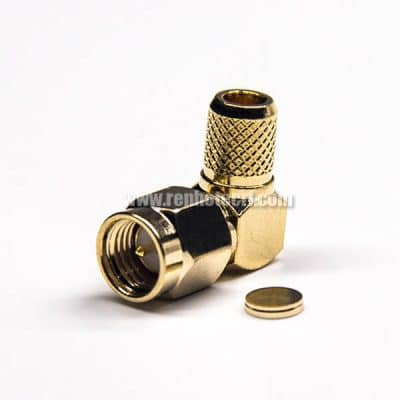 Right Angled SMA Connector Male Crimp Type for RG6 Coaxial Cable 50 Ohm