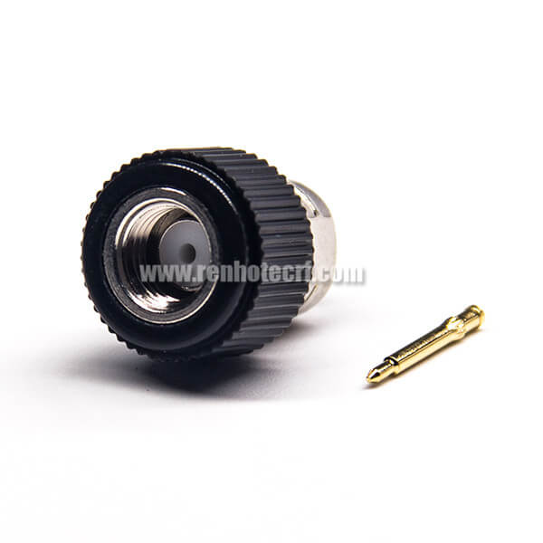 SMA Connector Male 180 Degree Solder Type for Coaxial Cable Black Plastic Shell