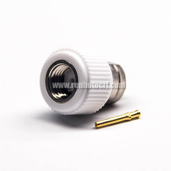 SMA RP Male Connector Straight Solder Type Nickel Plating White Plastic Shell