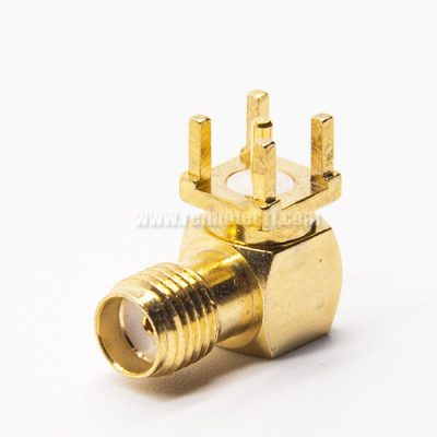 SMA Female 90 Degree RF Connector Gold Plating Through Hole