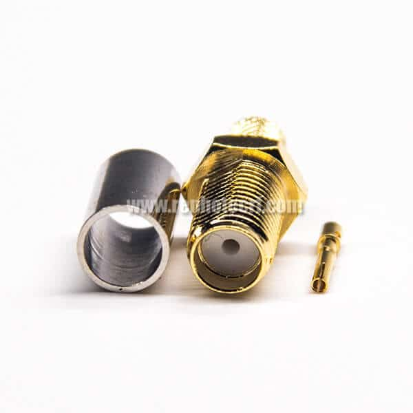 Female SMA Connector 180 Degree Golder Plating Crimp Type for Coaxial Cable