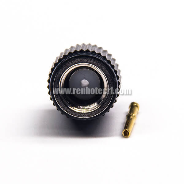 Solder Type SMA Connector RP Male 180 Degree Black Plastic Shell