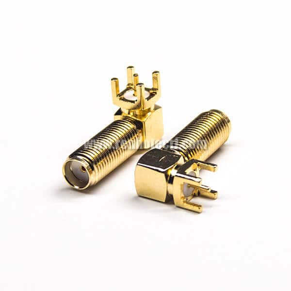 PCB Mount SMA Connector Female Right Angled Through Hole Gold Plating