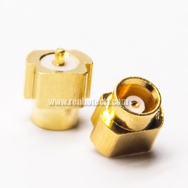 MCX Connector Panel Mount Female 180 Degree Gold Plating Offset Type