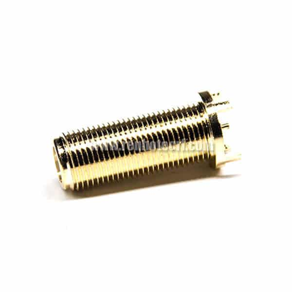 F Type Connector Gold Plating Female 180 Degree Through Hole for PCB Mount
