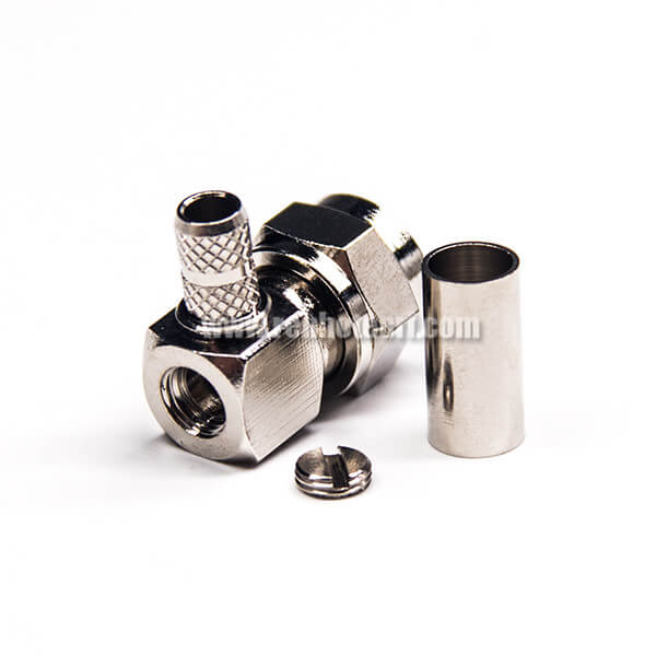 Right Angled F Type Connector Male Crimp Type for Coaxial Cable
