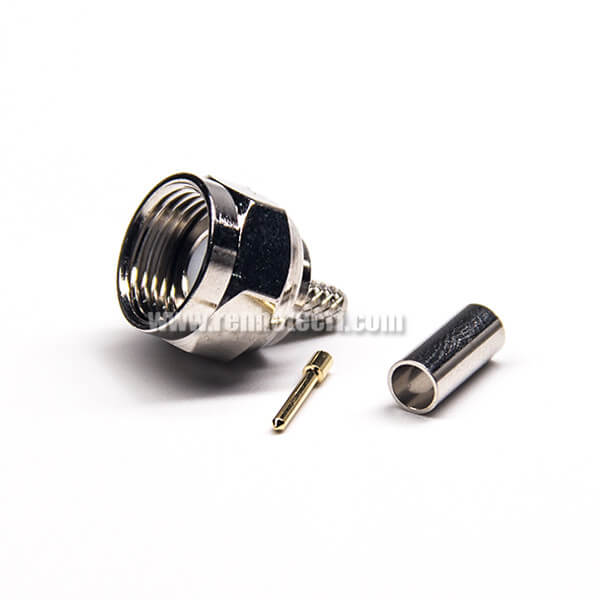 F Type 180 Degree Connectror Plug Male Pin Threaded Type Crimp Type for Cable