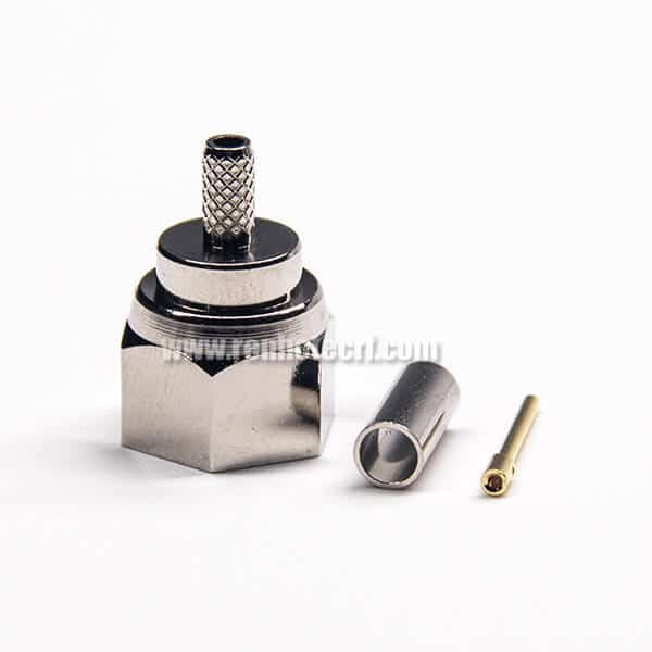 Male F Type Connector 180 Degree Crimp Type Nickel Plating