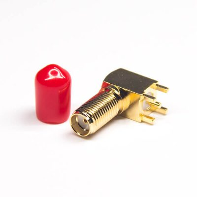 50 Ohm SMA Female Connector 90 Degree DIP Type for PCB Mount with Dustproof Cap
