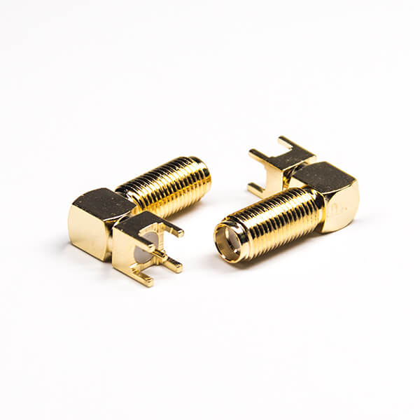 SMA Connector Angled Threaded 50 Ohm Through Hole Gold Plating