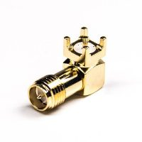 DIP Type SMA Connector 90 Degree Female Panel Mount Gold Plating