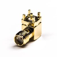 Through Hole SMA Connector Jack Right Angled Gold Plating 50 Ohm PCB Mount