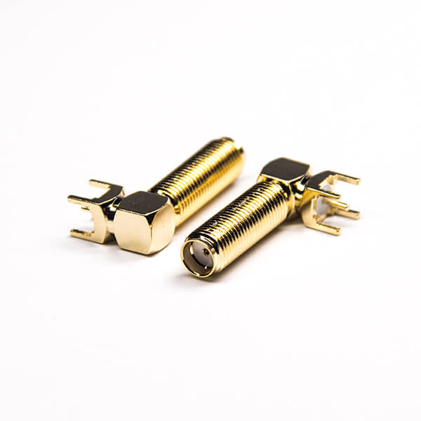 SMA Connector 50 Ohm Right Angled Gold Plating Through Hole
