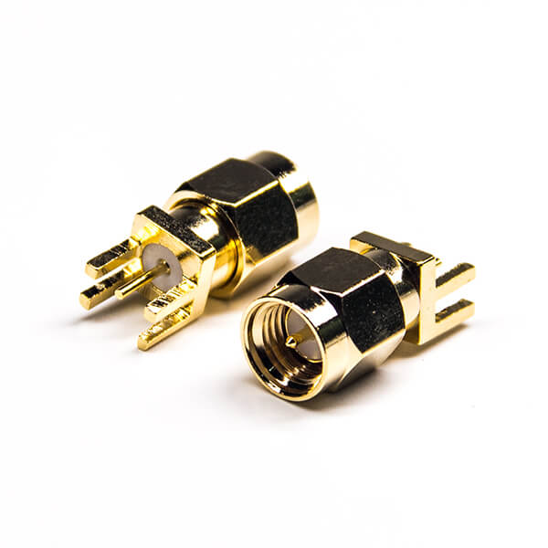 SMA Connector Straight Male Gold Plating 180 Degree Plate Edge Mount