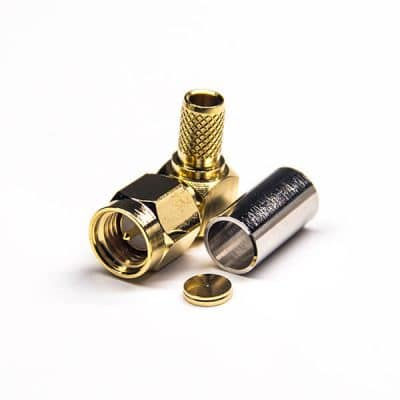 Male 90 Degree SMA Connector Right Angled Crimp Type for RG58 Cable