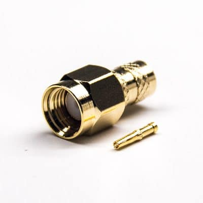 SMA Straight RP Male Connector Female Pin Crimp Type Gold Plating