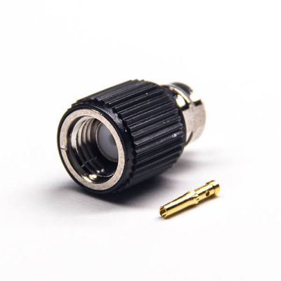 SMA RP Male Connector Female Pin Black Plastic Shell Solder Type Nickel Plating