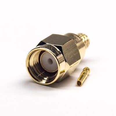Crimp Type RP Male SMA Connector 180 Degree Gold Plating 50 Ohm