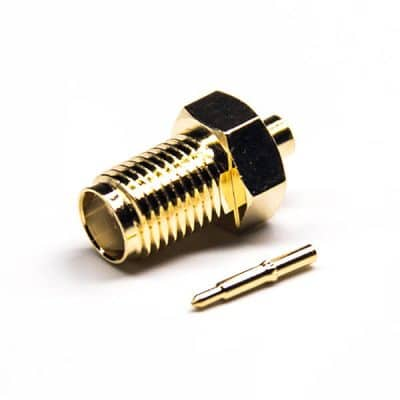SMA Connector RP Female Straight Male Pin Solder Type Gold Plating