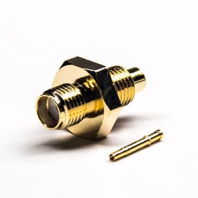 SMA Bulkhead 180 Degree Female Connector Solder Type 50 Ohm Gold Plating