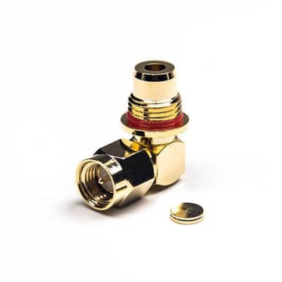 Waterproof SMA Male Connector Right Angled Bulkhead Solder Type