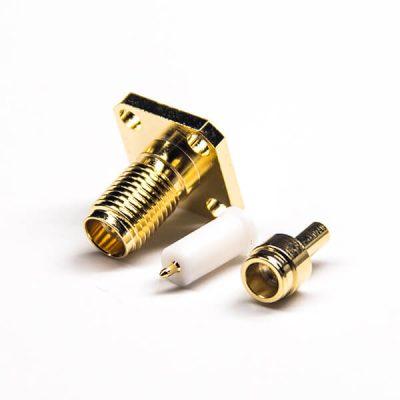 4 Hole flange SMA RP Female Connector Solder Type PTFE Crimp Type Gold Plating