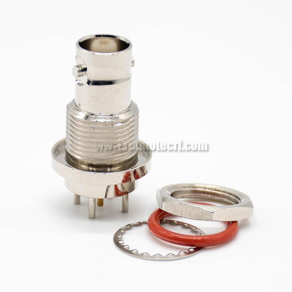BNC Connector Waterproof Female Straight 75Ω PCB Mount Standard Through Hole