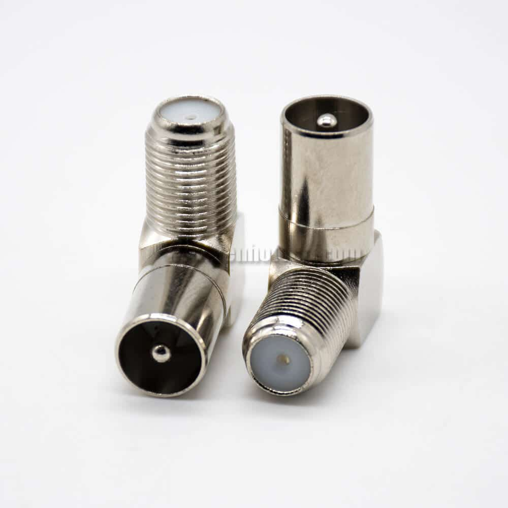 F Type to PAL Adapter 90 Degree F Female to PAL Male Coaxial Connector